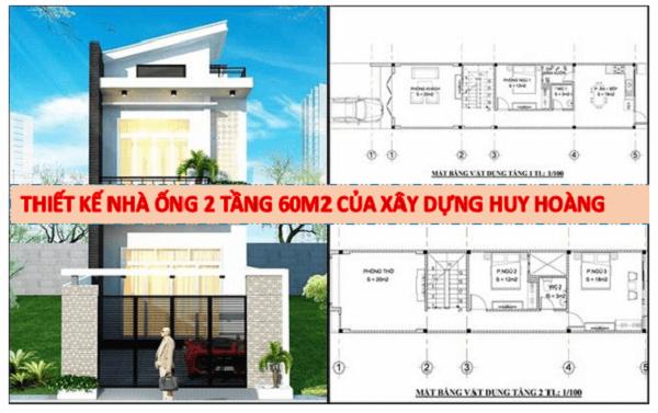 xây nhà 2 tầng 60m2