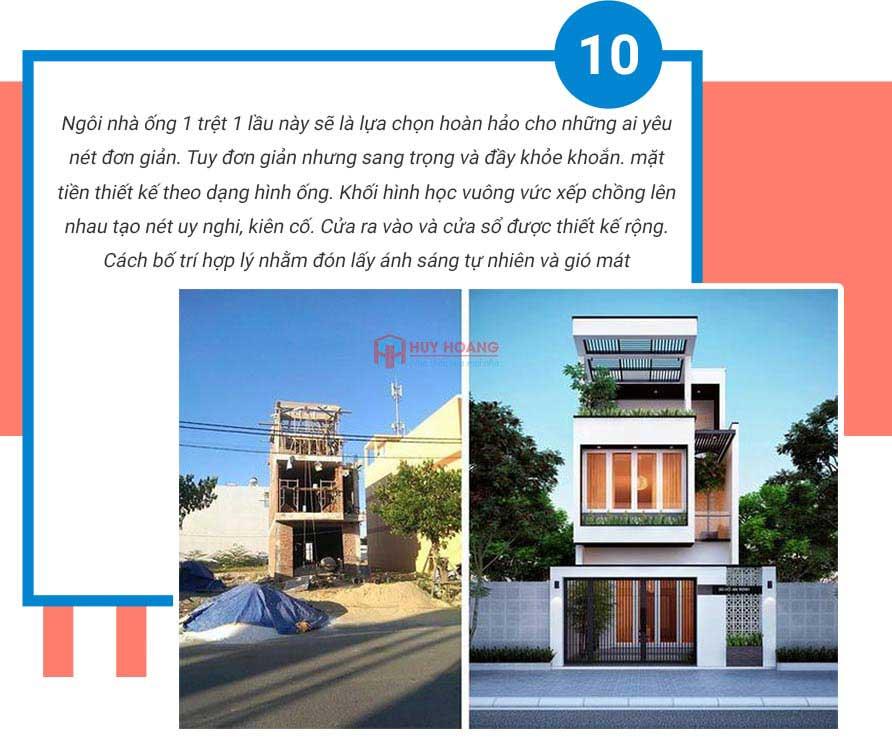 Top 10 mẫu nhà phố đẹp được ưa chuộn tại xây dựng huy hoàng 8